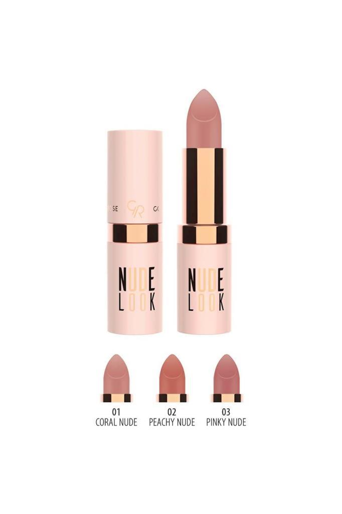 Golden Rose Nude Look Matte Lipstick 01 Coral Nude Ruj